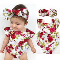 Wholesale Flowers Factory - Baby Clothes Factory Newborn Babies Girls Clothes Flower Jumpsuit Bubble Romper Bodysuit + Headband Outfits