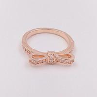 ingrosso archi di gioielli-Anello in argento sterling 925 placcato in oro rosa con frange e fiocco in argento con ciondolo per gioielli in stile europeo Pandora 180906CZ