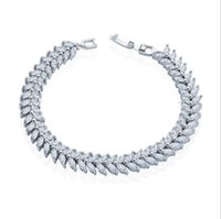 Wholesale Traditional Top For Women - Marquise Cut Top Grade Full Cubic Zirconia CZ Stones Leaf Tennis Fine Bracelets Women Decoration Jewelry for Party Wedding