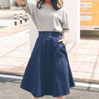 Wholesale Long Female Jeans Skirts - 2017 Spring Summer Women's Denim Skirt Lady's Mid-long Slim Jeans Skirt Female Elegant Denim Skirts Blue
