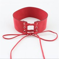 Wholesale Bijoux Lace - PATTO Charm Female Leather Jewelry Tie Short Velvet Belt Maxi Choker Necklaces for Women Cross Lacing Rope Collier Wide Collares Bijoux