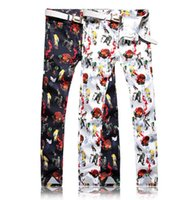 ingrosso pantaloni colorati uomini scarni-Estate colorata disegno jeans economici homme biker skinny stampa jeans uomo alta qualità denim maschile pantaloni masculino moto retrò