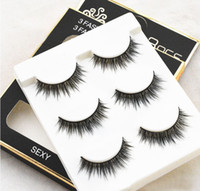Wholesale Eyelashes Perm Kit - 30Pairs LOT 3D Mink Eyelashes Strips Thick Cross 3 Pairs of Natural False Eyelash 3D Eyelash Extensions Eyelash Perm Kit Wimper Extensions