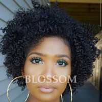 Wholesale Kinky Natural Black Hair Wigs - 2017 New Arrival Afro Kinky Curly Brazilian Human Hair None Lace Wigs For Black Women Natural Black