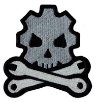 Wholesale Cheap Iron Appliques - Cheap Skull Bone Tool Embroidered Iron On Patch Jacket Emblem 100% Embroidery Applique Badge 8.7cm*8cm G0042 Free Shipping