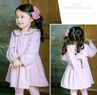 Wholesale Korean Christmas Dress - 2017 hot sell Korean style Girls long sleeve big pet pan collar cat print 100%l cotton Dress solid color girl fall casual elegant dress