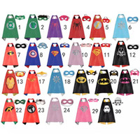 Wholesale Super Heroes Flash - Double sides kids Superhero Capes and masks Spiderman Flash Supergirl Batgirl Robin for kids capes with mask party costumes