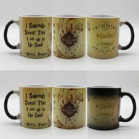 Wholesale Ceramic Cup Temperature Changing - Hot Creative Harry Potter Magical Color Changing Mug For Marauders Map Ceramic Cup Temperature Change Color Coffee Cup Gift