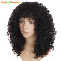 Mapofbeauty Natural Afro Wig Kinky Long Curly Synthetic Cosplay Perucas Para Mulheres Negras African American Heat Resistant Fake Hair