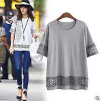 Wholesale Short Sleeve Crochet Top - New 2016 Fashion T Shirt Women Fifth Sleeve O-neck Casual Tops Sexy Lace Crochet Embroidery Top Tees Blusas Plus Size 5xl