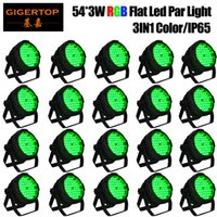 TIPTOP 20 Pack 54 3W LED RGB PAR CAN DJ Stage DMX Lighting para Disco Party Wedding Uplighting IP65 para teatro de concertos ao ar livre Subaquático