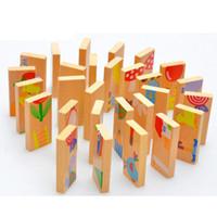 juguetes viejos de madera al por mayor-Unisex Baby Kid 28 UNIDS Animal Domino Puzzle Bloques de Juguete Madera Segura Domino Juguetes Educativos Regalo para Niños, Más de 3 Años