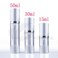 Wholesale Vacuum Pump Container - Wholesale- 15ml 30ml 50g empty sample airless pump cosmetic aluminum container small lotion pump vacuum eye cream gel airless bottles pump