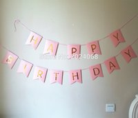 Venta al por mayor NUEVA Rosa / blanco Happy Birthday Banner Garland pendientes de oro letras de la foto Props Bunting Garland Decoración de la boda Party Event