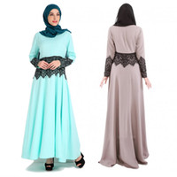 Wholesale Maxi Scarfs - Middle East Style Muslims Women Islamic Vintage Lace Stitching Peplum Long Sleeves Maxi Dress(Without Scarf)