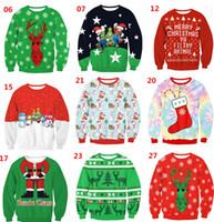 Wholesale Christmas Tree Sweatshirt - Christmas day tree Santa Claus printed Women's Hoodies & Sweatshirts loose tops tees
