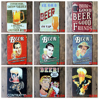 Wholesale Decoration Souvenir - Beer Series Theme Tin Poster Retro 20*30cm Metal Tin Sign Drink Cold Beers With Good Friends Iron Paintings For Wall Decoration 3 99rje