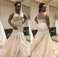 Wholesale Gold Chains Images - Nigerian Plus Size Wedding Dresses Chapel Train Mermaid V Neck Sweep Train Bridal Gowns With Lace Applique Beading Chains For Beach
