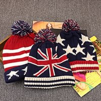 Wholesale Man United Flags - 2017 Fashion 3 Styles Winter Hat Adult Child Warm Beanies United Kingdom UK National Flag Knitted Hat For Womem Men Poms Ball Cap