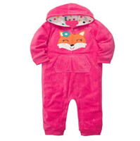 Wholesale Drop Shipping Wholesalers Baby Clothing - AbaoDo top quality pink fox baby rompers cotton polar fleece infants sleepsuit long sleeve newborn hooded clothing wear drop shipping