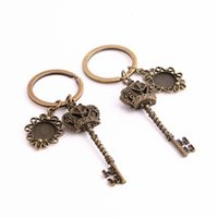Wholesale Metal Base Cabochon - SWEET BELL 3pcs lot Metal Alloy Zinc Key Chain Fit Round 12.5mm Cabochon Base Key Charm Pendant Diy Jewelry Making C0885-2