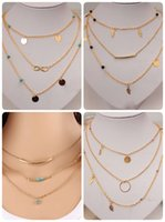 Wholesale Infinity Jewellery - New Multi Layer Gold Color Tassel Infinity Necklace for Women Body Chain Jewellery Bohemian Turquoise Choker Colar collier
