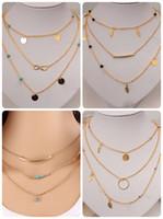joyas gargantilla de oro al por mayor-Nuevo Multi Layer Gold Color Tassel Infinity Necklace para Mujeres Body Chain Jewellery Bohemian Turquoise Gargantilla Colar collier