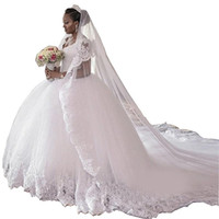 свадебное платье оптовых-2017 новый африканский бальное платье Свадебные платья V шеи Cap рукавом аппликации Vestidos de Novia пухлые на заказ плюс размер тюль свадебные платья