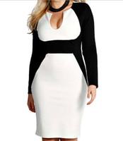 Wholesale Color Block Dress Long Sleeve - Plus Size Women's V-Neck Long Sleeve Color block patchwork Clubwear party Cocktail Dress XL XXL XXXL HY4471