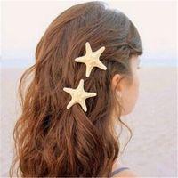 acessório de cabelo de natal artesanal venda por atacado-Pinos de cabelo artesanal coreano acessórios para o cabelo natural real starfish o hairpin à beira-mar para as mulheres moda jóias presente de natal