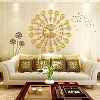 Wholesale Antique Gold Clock - Modern Metal Wall Clock Crystal Gold Peacock Wall Clocks Creative Sitting Room Metal Mute Wall Clocks Europe Type Auger Clock