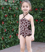 Wholesale Infant Girl Swim Suits - Baby Swimsuit Leopard Infant Toddler Girls Swim wear Kids Bathing Suit One-Piece Bikini Baby Clothes Free Shipping 2pcs