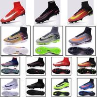 Wholesale Elite Football Boots - 2016 Mercurial Superfly V CR7 FG Soccer Shoes Men Women Kid 100% Original Sport Boots High Ankle Knit Magista 11 Elite Football Size 39-45
