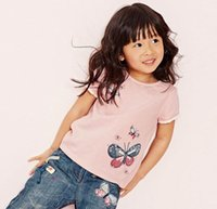 Wholesale Girls Butterfly Shirt Wholesale - 2017 Summer New Baby Girl Summer T-shirts Butterfly Pink Cotton Short Sleeve T-shirts Children Clothing 1-6Y 50132
