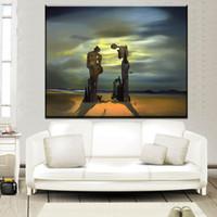 lona ainda pintura da vida venda por atacado-Salvador Dali Still life Pintura A óleo Abstrata Desenho arte Spray Unframed Canvas holograma técnica holograma quadrado
