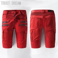 Atacado- TRUST DREAM 2017 Summer European Designed Men Stylish Red Decor Pocket Moda Stretch Biker Denim Shorts Jeans