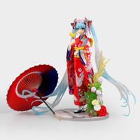figuras do anime do miku do hatsune venda por atacado-20 CM Anime Hatsune Miku Figuras Kimono Yukata Miku PVC Action Figure Collectible Modelo Brinquedos para o presente de Natal