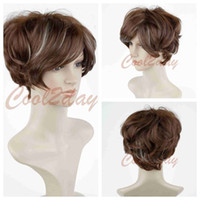 Wholesale Healthy Sexy Hair - ePacket free shipping Women Sexy ladies short Brown mixed Natural Hair Healthy Synthetic full wigs+cap