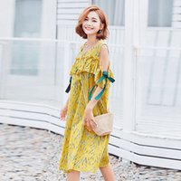 Wholesale Large Size Korean Dresses - 2017 Korean Summer Fashiomn New Round Collar Strapless Bow Tie Lotus Leaf Large Size Loose Dress Women V43207