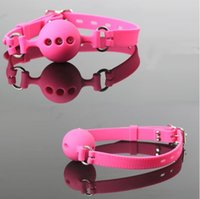 Wholesale Pink Bdsm Restraints - 38mm 43mm 48mm Full Silicone Open Mouth Ball Gag in Adult Game Bondage Restraints Sex Products BDSM Erotic Toy Couple Sex Toys