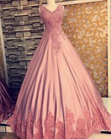 Wholesale Coral Satin Evening Gowns Dresses - Elegant Arabic Dubai Coral Evening Dresses 2017 Floral Appliques Pink Formal Evening Gowns Ball Gown Puffy Satin Floor Train