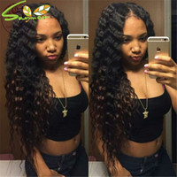 Wholesale Human Hair Wigs Malaysia - Human Hair Lace Front Wig Malaysia Water Wave Full Lace Wig For Black Women Unprocessed Virgin Hair LaceFront Wig With Baby Hair