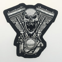Wholesale Wholesale Bikers Accessories - Quality Brotherhood Music Skull Embroidered Iron On Patch DIY Appliequie Accessory Embroidery Sew On Badge Motorcycle Punk Biker Patch