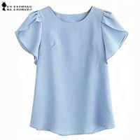 Wholesale Linen Summer Work Clothes - Women Blouses Shirts New Women Summer Linen Tops For Women Ruffle Short Sleeve Casual Shirt Work Wear OL Clothes T65663R