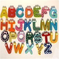 Wholesale Learning Toys Fridge Magnet Child Colorful Letters Shape Learning Toys Wooden Magnetic Toddler Children Toys DHL Free