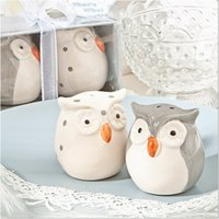 Wholesale Ceramic Baby Favors Wholesale - 120pcs=60sets lot Wedding Favors and Gifts Baby Shower Gray and White Color Owl Ceramic Salt and Pepper Shaker Free Shipping