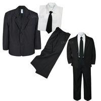 Wholesale Boys Blazer Blue 12 - 4pc Set Infant Boy Toddler Kid Teen Wedding Black Blazer Formal Tuxedo Suit S-20