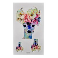 Wholesale Tattoos Nice - Wholesale-Fashion Waterproof Tattoo Sticker Nice Flower On The Deer Head Tattoo Designs Tattooing Temporary Body Art Tattoo YY*SS1199W