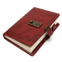 Atacado- 1pc B6 Red Rose Leather Diário Diário Diário de papel em branco Notebook com bloco de bloco Sketchbook Notepad Gift Office School Supplies