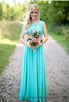Wholesale Turquoise Short Evening Dress - Hot Selling 2017 Country Style Turquoise Bridesmaid Dresses Cheap Long Bridesmaid Dress for Beach Wedding Evening Party Gowns